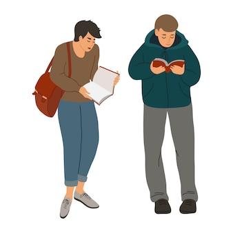 Pojedyncze czytanie ludzi. ręcznie rysuj boys z ciekawą książką. płaska ilustracja na białym tle.