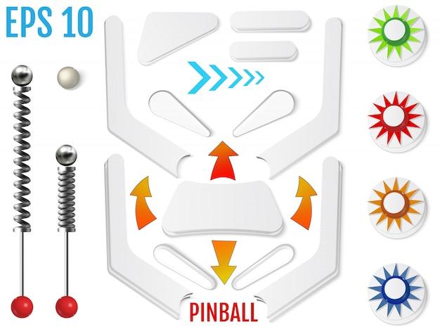 Pojedyncze elementy pinball. realistyczny zestaw