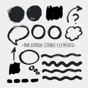 Pojedyncze elementy zestawu pociągnięć pędzla pisma ręcznego