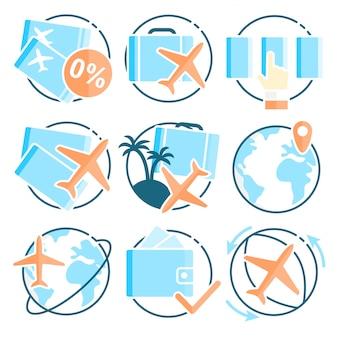 Pojedyncze ikony o podróży lotniczej.