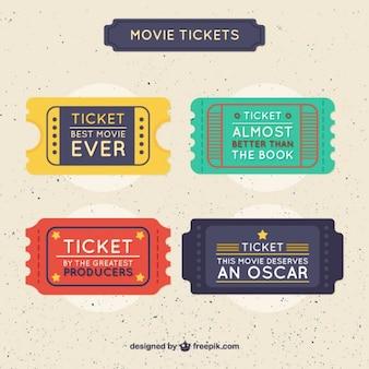 Pojedyncze kolorowe bilety do kina