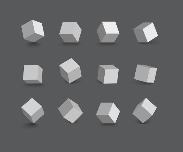 Pojedyncze kostki w różnych pozycjach