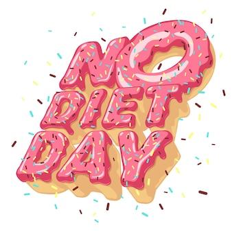 Pojedyncze litery wolumetryczne bez diety dzień i pączek, posypanie, polewa. typografia 3d.