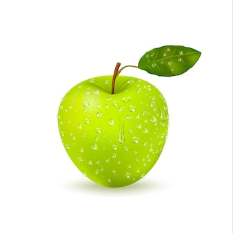 Pojedyncze mokre zielone jabłko z kropli wody