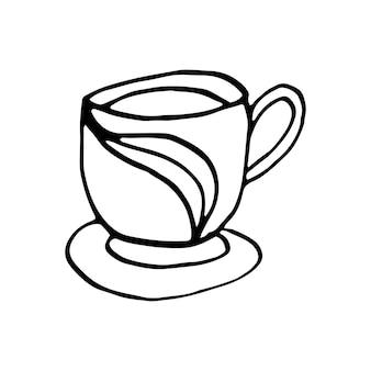 Pojedyncze ręcznie rysowane filiżankę kawy, czekolady, kakao, americano lub cappuccino. doodle ilustracja