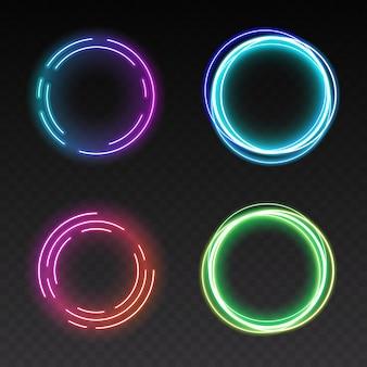 Pojedyncze świecące pierścienie światła na przezroczystym tle