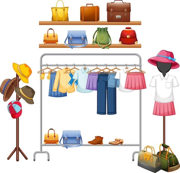 Pojedyncze ubrania na wyświetlaczu w szafie