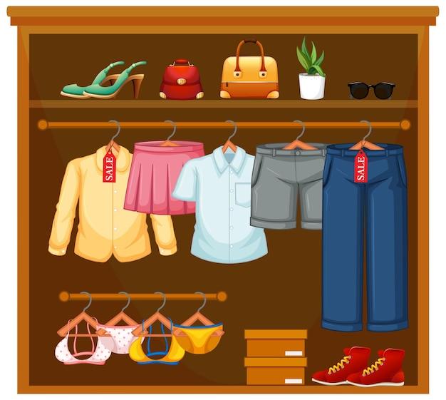 Pojedyncze ubrania w szafie