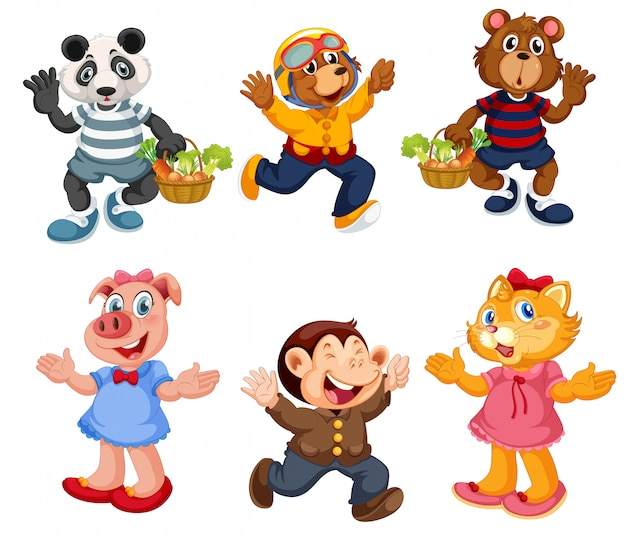 Pojedyncze zwierzęta, w tym niedźwiedź, świnia i małpa
