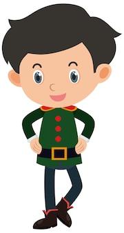 Pojedynczy charakter chłopca w zielonym stroju na białym tle