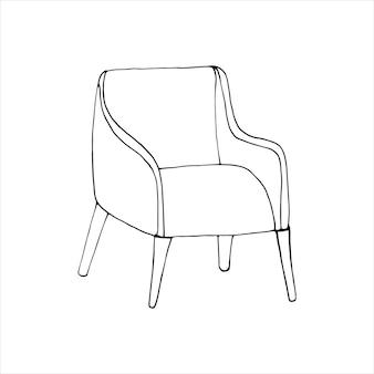 Pojedynczy element fotela w zestawie doodle. domowe biuro. ręcznie rysowane ilustracji wektorowych dla kart, plakatów, naklejek i profesjonalnego projektowania.