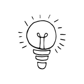 Pojedynczy element pomysłu żarówki w zestawie biznesowym doodle. ręcznie rysowane ilustracji wektorowych dla kart, plakatów, naklejek i profesjonalnego projektowania.