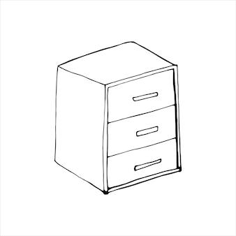 Pojedynczy element stolika nocnego w zestawie doodle. domowe biuro. ręcznie rysowane ilustracji wektorowych dla kart, plakatów, naklejek i profesjonalnego projektowania.