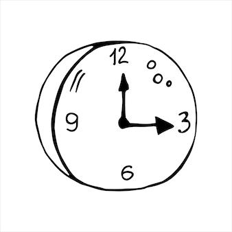 Pojedynczy element zegara w zestawie biznesowym doodle. ręcznie rysowane ilustracji wektorowych dla kart, plakatów, naklejek i profesjonalnego projektowania.
