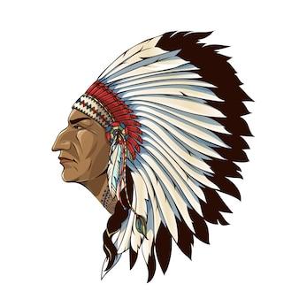 Pojedynczy indianin w profilu