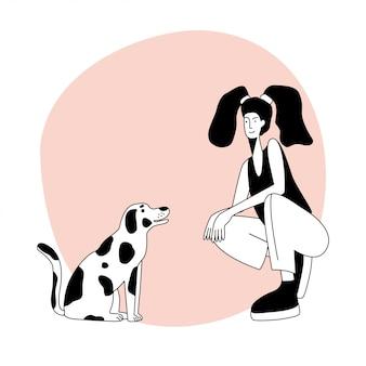 Pojedynczy postać młoda dziewczyna i pies do projektowania karty przyjaciół