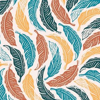 Pojedynczy wzór liści bananowca w doodle vintage design.