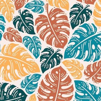 Pojedynczy wzór liści monstera w doodle vintage design
