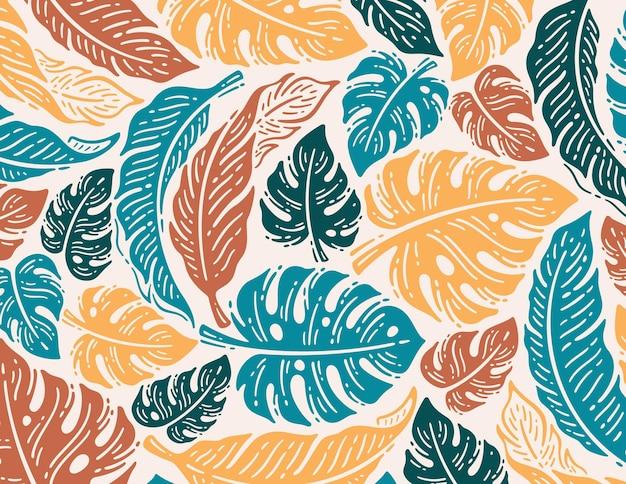 Pojedynczy wzór liści palmowych w doodle vintage design