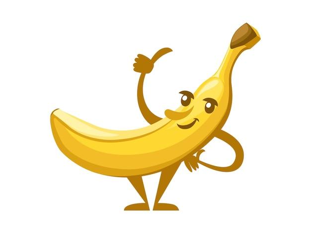 Pojedynczy żółty banan jadalne owoce tropikalne jagody postać z kreskówki maskotka ilustracja