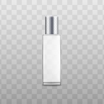 Pojemnik lub butelka z rozpylaczem zapachowym perfum ze srebrną pokrywką realistyczna ilustracja wektorowa na białym tle. szablon opakowania produktów aromatycznych.