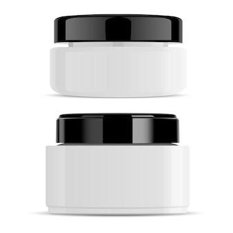 Pojemnik na biały kremowy słoik z czarną nasadką w połysku