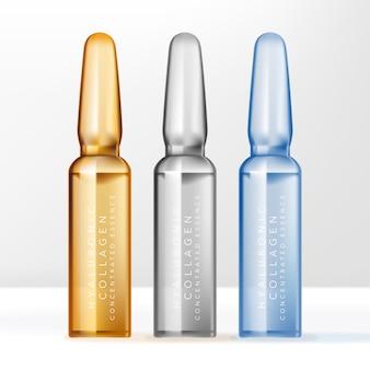 Pojemnik na butelkę z ampułkami na produkt kosmetyczny lub pielęgnacyjny. przezroczysty, niebieski i żółty.