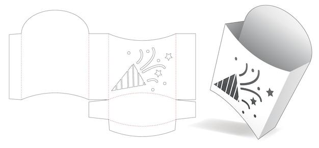 Pojemnik na frytki z szablonem wycinanym z szablonem konfetti