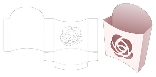 Pojemnik na frytki z szablonem wykrojonym w różyczki