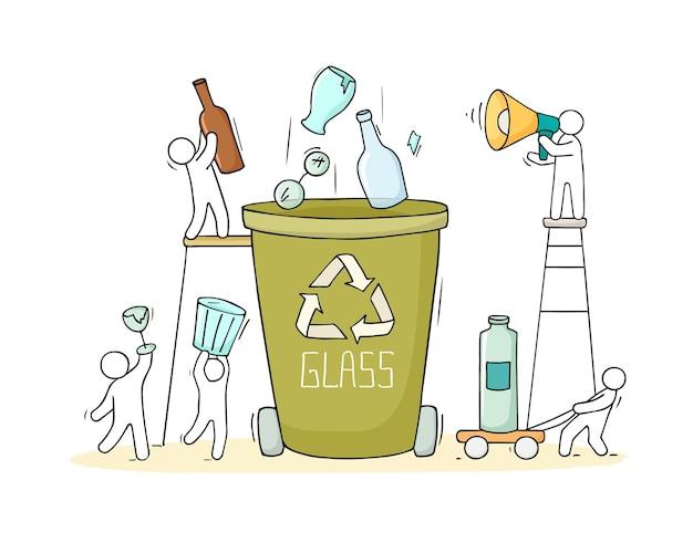 Pojemnik na odpadki szklane. kreskówka kosza na produkty ze szkła z ludźmi. doddle wektor ilustracja na białym tle.