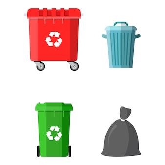 Pojemnik na puszki, worek i wiadro na śmieci. sprzęt do recyklingu i utylizacji. gospodarowanie odpadami. ilustracja wektorowa w stylu płaski
