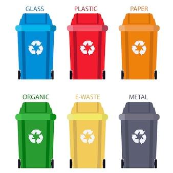 Pojemnik Na śmieci Segregacja Odpadów. Utylizacja Kosza Na śmieci. Premium Wektorów