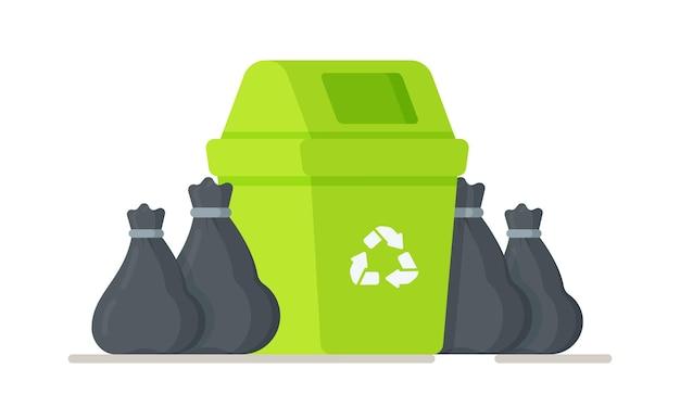 Pojemnik na śmieci z workami na śmieci. ilustracja przygotowania śmieci do wywiezienia. zamawianie usług sprzątania po ludzkości.