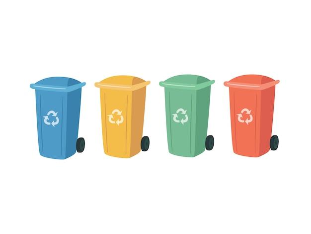 Pojemniki do recyklingu i sortowania odpadów. kolorowe puszki na śmieci do segregacji odpadów.