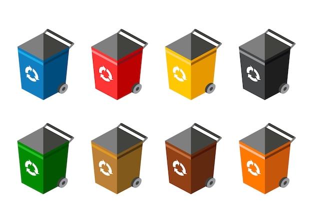 Pojemniki na śmieci do sortowania. recykling elementów. wiele pojemników na śmieci z posortowanymi śmieciami. kolorowe kosze na śmieci ze śmieciami. segregacja odpadów na śmietniki. koncepcja gospodarki odpadami.