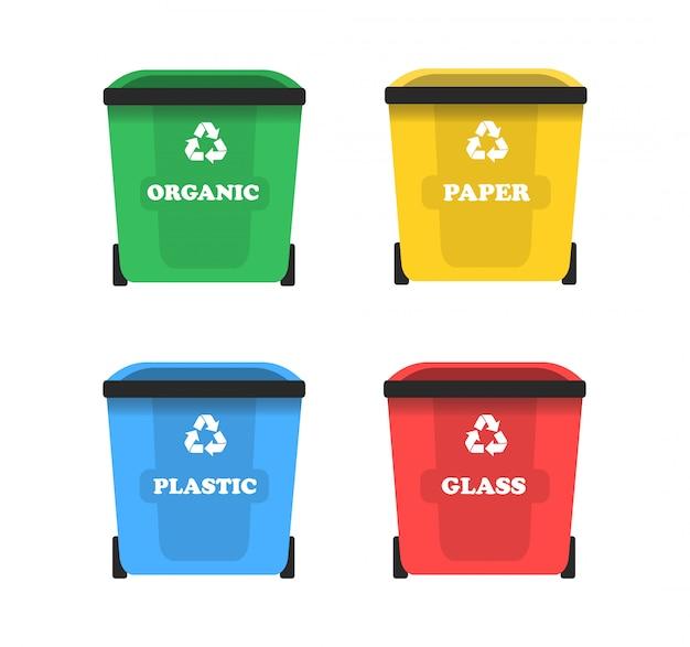 Pojemniki na śmieci w płaskiej formie. sortowanie śmieci.