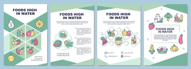 Pokarmy bogate w wodę szablon broszury. warzywa i owoce. ulotka, broszura, druk ulotek, projekt okładki z liniowymi ikonami. układy wektorowe do prezentacji, raportów rocznych, stron ogłoszeniowych