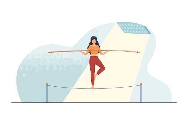 Pokaż aktorkę balansującą na linie. publiczność, akrobata, płaska ilustracja jogina