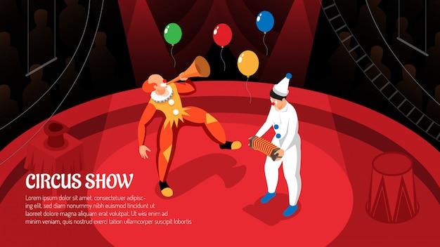 Pokaz cyrkowy z występami klaunów w promieniach reflektora izometryczny poziomo