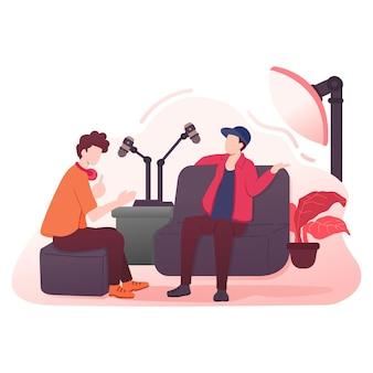 Pokaz głosowy podcastów z mikrofonem