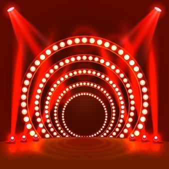 Pokaż jasne podium czerwone tło. ilustracja wektorowa