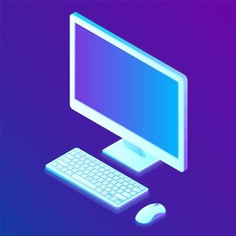 Pokaz. klawiatura. mysz. izometryczny komputerowy wyświetlacz 3d z klawiaturą i myszą.