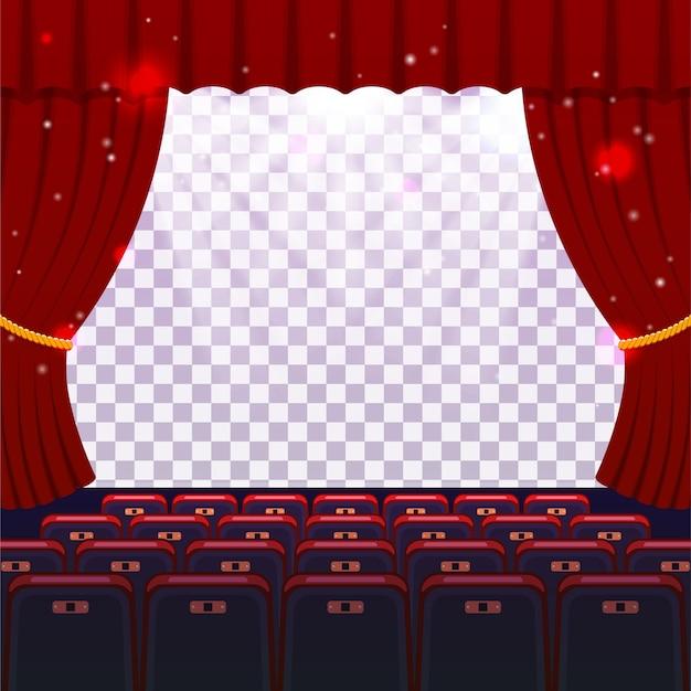 Pokaż koncepcję czasu. sala kinowo-teatralna z siedzeniami i przezroczystym ekranem.