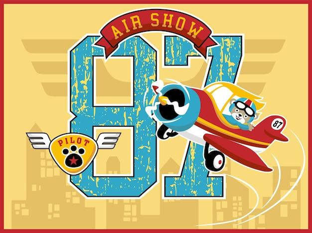 Pokaz lotniczy kreskówka z małym samolotem i ślicznym pilotem