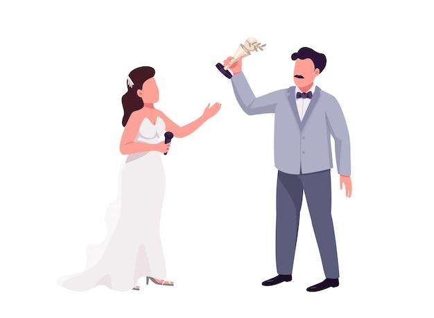Pokaż prezenterowi i zdobywcy nagrody płaskie znaki wektorowe bez twarzy. ceremonia wręczenia nagród ilustracja kreskówka na białym tle do projektowania grafiki internetowej i animacji. kobieta z mikrofonem i mężczyzna trzyma trofeum