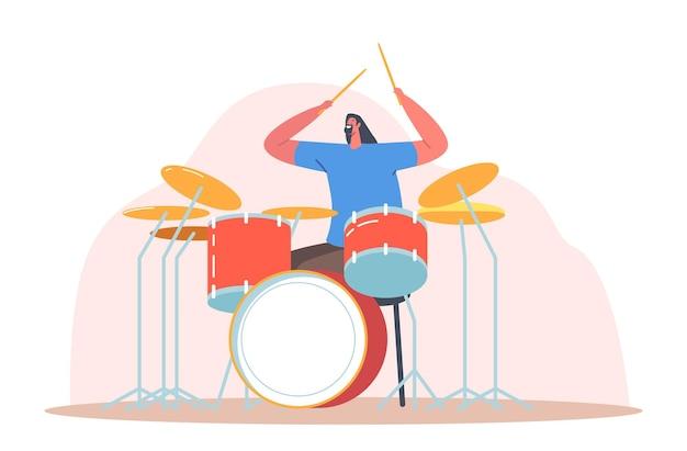 Pokaz rozrywkowy zespołu muzycznego. podekscytowany perkusista grający hardrockową muzykę z pałeczkami na bębnach. utalentowana postać muzyka występująca na scenie z instrumentem perkusyjnym. ilustracja kreskówka wektor