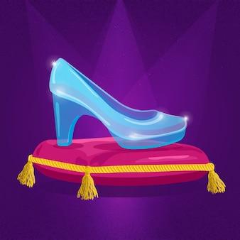 Pokaz szkła kopciuszka na królewskiej poduszce