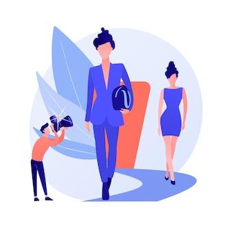 Pokaz tygodnia mody. profesjonalne modele, pokaz ubrań, impreza haute couture. eleganckie kobiety na wybiegu w modnych ciuchach, pozujące z wdziękiem. ilustracja wektorowa na białym tle koncepcja metafora