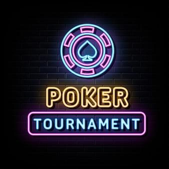 Poker turniej neonowe znaki szablon projektu wektor neon styl