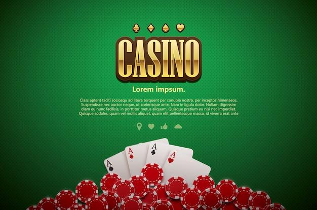 Poker zielony karty tabeli i wiórów realistyczny motyw widok z góry